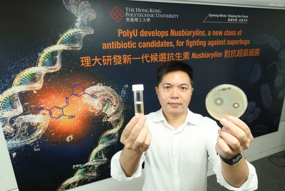 """The research team of the State Key Laboratory of Chemical Biology and Drug Discovery of PolyU's Department of Applied Biology and Chemical Technology (ABCT) develops """"Nusbiarylins"""", a new class of antibiotic candidates for fighting against superbugs. The research team is led by Dr MA Cong."""
