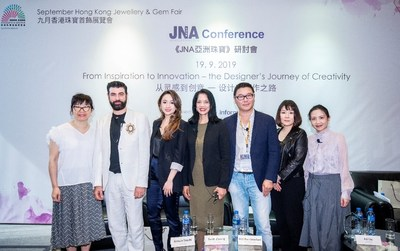 (From left) Celine Lau, Director of Jewellery Fairs, Informa Markets; Alessio Boschi, Founder & Designer, Alessio Boschi Jewels; Sarah Zhuang, Founder & Designer, Sarah Zhuang Jewellery; Mallika Khemlani, Business Development Manager, KGK Jewellery (HK) Ltd; Fei Liu, Founder & Designer, Fei Liu Fine Jewellery; Mana Matsuzaki, Designer, Matsuzaki Inc; and Christie Dang, Publisher & Editor-in-Chief, JNA