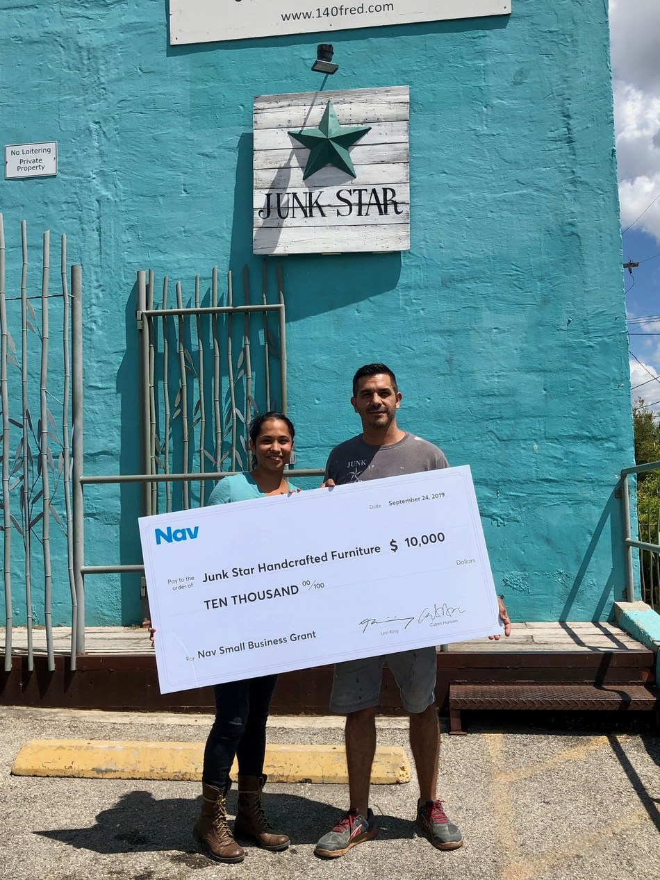 Alex and Jennifer Morton, the founders and owners of Junk Star Handcrafted Furniture in San Antonio, were selected as the grand prize winners of Nav's quarterly Small Business Grant. With the money, the couple plans to invest in new equipment and expand their services.