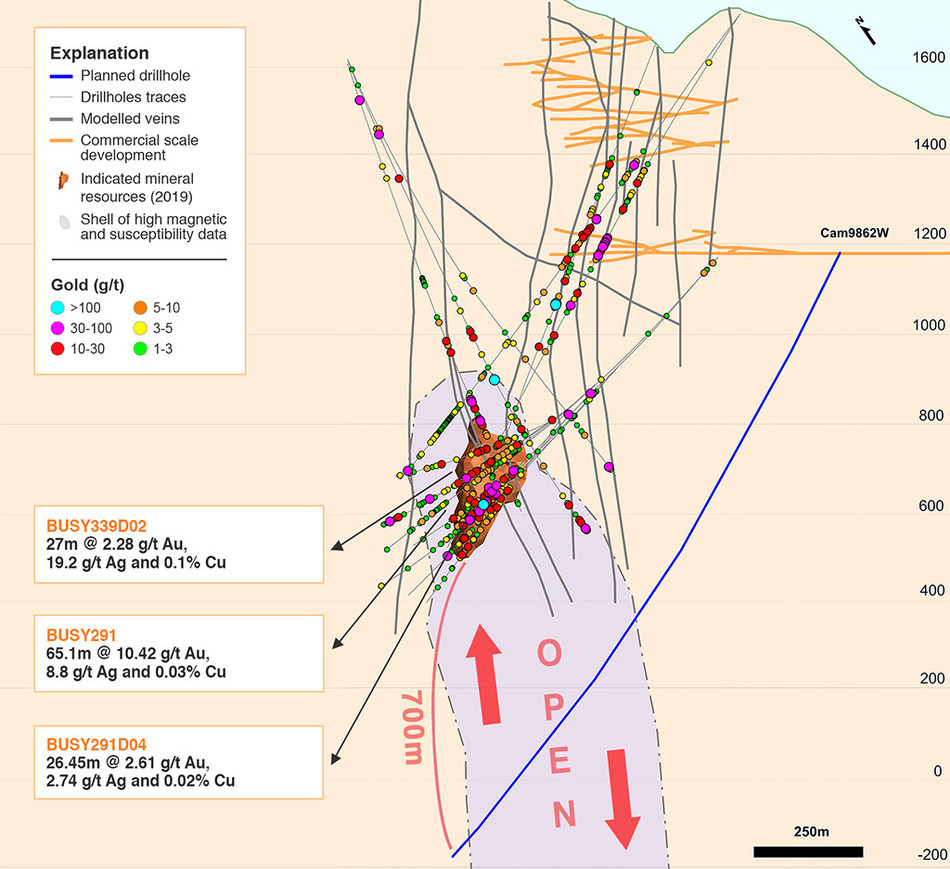 Figure 1: Location of the deep diamond drill hole targeting the depth extension of the mineralized Porphyry body as defined by magnetic data (purple outline). Note the thick intercepts located only in the apex of the Porphyry body. (CNW Group/Continental Gold Inc.)