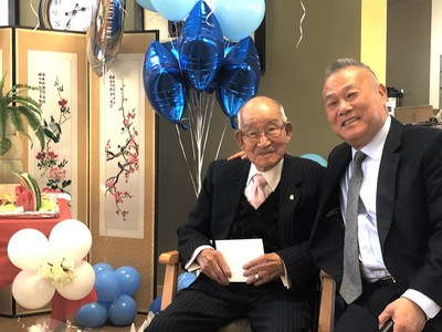 Mr. Ja Hyung Lee celebrating his 109th birthday with Amenida Seniors' Community owner, Dr. Peter Chung. (CNW Group/Primacorp Ventures Inc.)
