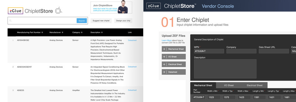 zGlue ChipletStore™, an online portal comprising of chiplet listing and browsing portals integrated with the development software, zGlue ChipBuilder.
