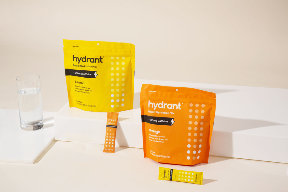 Hydrant + Caffeine adds 100mg caffeine from organic green tea—as much as one cup of coffee—and 200mg of L-Theanine to Hydrant's Rapid Hydration Mix for a focused, calm energy. Now available in Lemon and Orange. (PRNewsfoto/Hydrant, Inc.)