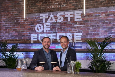 Simon Earley, Head of Diageo World Class, with Benjamin Lickfett, Diageo?s Head of Futures & Digital Innovation (Europe) at the interactive innovation zone, A Taste of the Future, at this year?s World Class Bartender of the Year Finals in Glasgow