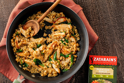 Parmesan Garlic Rice with Chicken and Spinach is loaded with protein, fiber and New Orleans flavor for an easy weeknight meal. www.zatarains.com