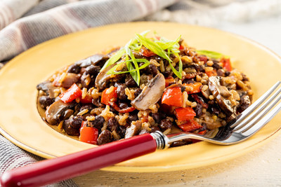 Savory Mushroom, Bacon & Roasted Garlic with New Zatarain's Garden District Kitchen Brown Rice and Bean Mix is fast, flavorful and packed with protein and fiber. www.zatarains.com