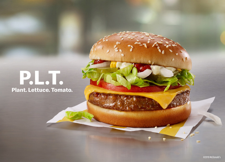 The P.L.T., made exclusively by McDonald's with Beyond Meat®, will be available for a limited time in select restaurants in Canada, beginning September 30, 2019. (PRNewsfoto/McDonald's Corporation)