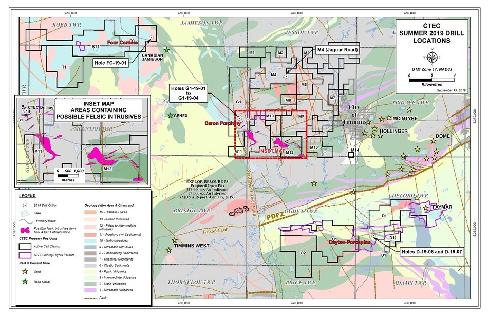 CTEC Project Location Map (CNW Group/Central Timmins Exploration Corp)