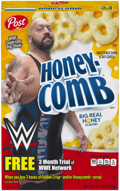 Honeycomb cereal featuring WWE Superstar Big Show