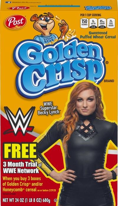 Golden Crisp cereal featuring WWE Superstar Becky Lynch