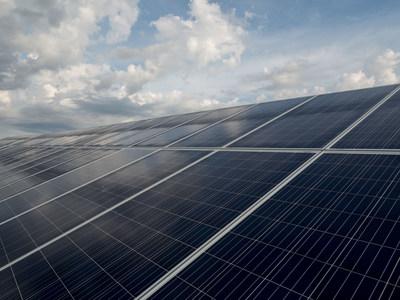 Solar panels at DTE's Lapeer Solar Park in Lapeer, Mich.
