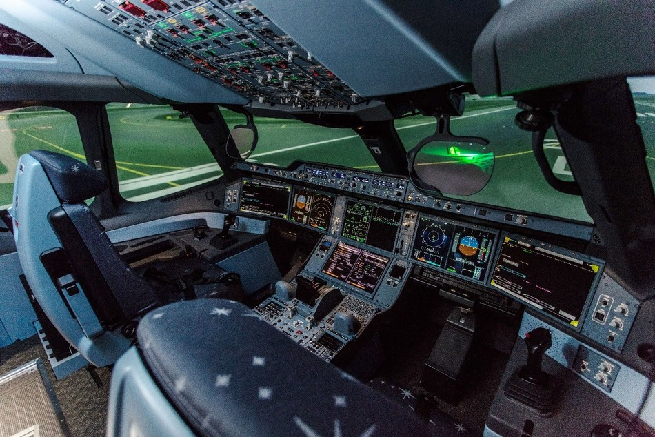 CAE 7000XR Series full-motion flight training simulators qualified by Civil Aviation Department (CAD) and Civil Aviation Administration of China (CAAC) have been installed for A330 and A350 aircraft. (PRNewsfoto/Hong Kong Airlines Limited)