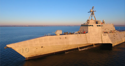 General Dynamics integrated a news over-the-horizon missile capability onto the littoral combat ship USS Gabrielle Giffords (LCS 10). Photo courtesy of Austal.