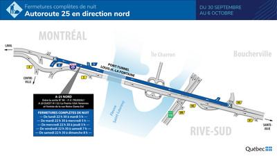 Fermetures complètes de nuit à venir sur l'autoroute 25 en direction nord au cours de la semaine du 30 septembre (Groupe CNW/Ministère des Transports)