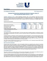 Uranium Participation Corporation Reports Financial Results for the Quarter Ended August 31, 2019 (CNW Group/Uranium Participation Corporation)