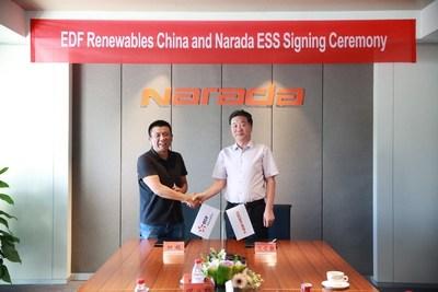 EDF Renewables China y Narada estrechan sus manos el 18 de septiembre. El señor Tian Yue, CEO de EDF Renewables China (izquierda) y el señor Wang Yuenneng, vicepresidente de Narada (derecha). (PRNewsfoto/Zhejiang Narada Power Source Co)