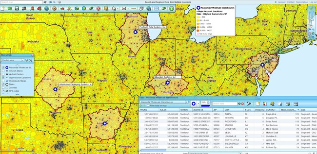Search and segment multiple center points. Enrich data reports with Census demographic information.