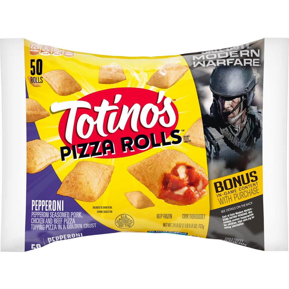 Totino's unveils new Call of Duty: Modern Warfare packaging.  As part of the collaboration, consumers can unlock Call of Duty items inside Modern Warfare with the purchase of participating products, including Totino's Pizza Rolls, Mini Snack Bites and Multi-Pack Party Pizza, by entering unique codes found on the packaging.