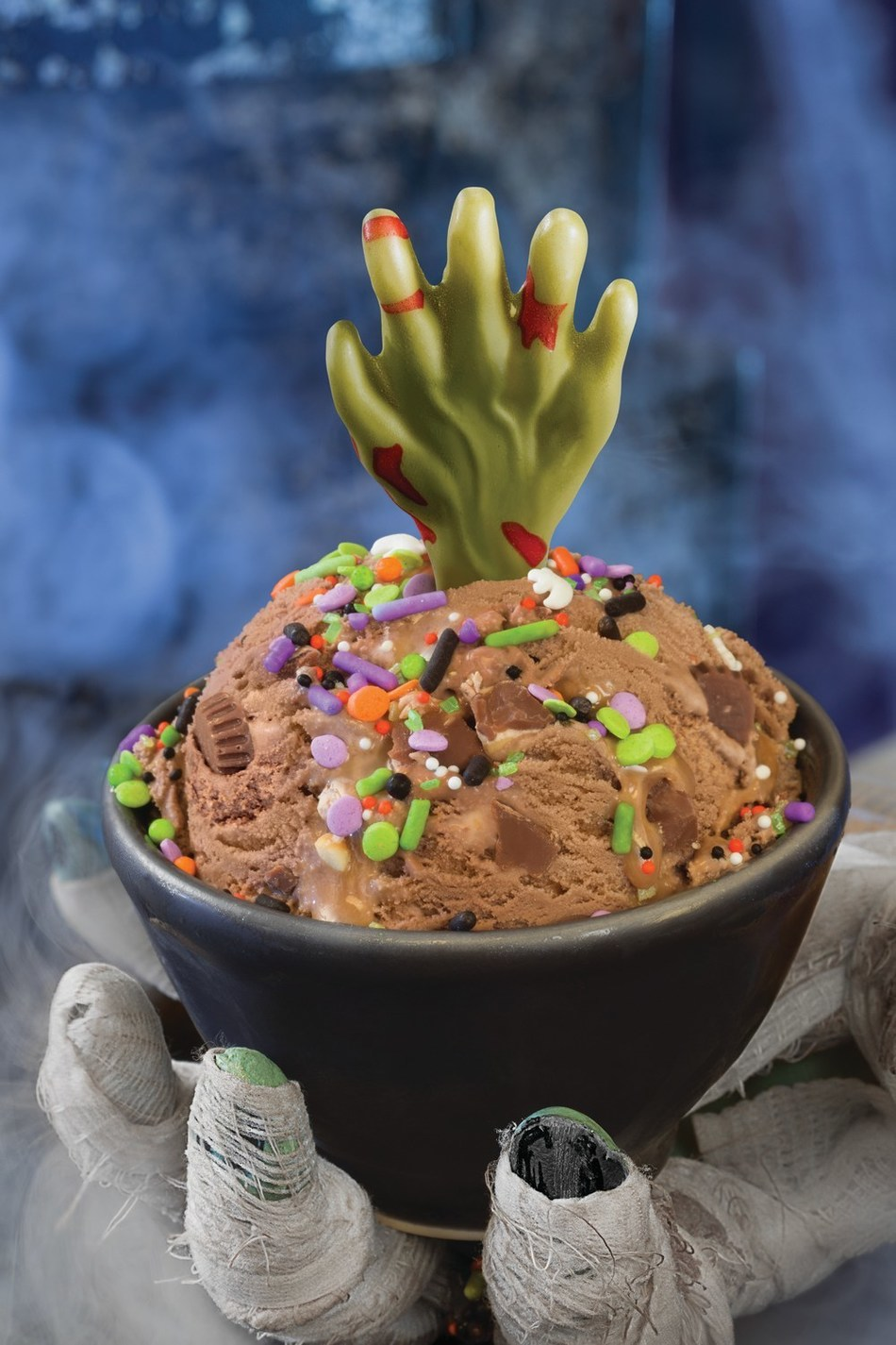 Baskin-Robbins' Fright Night Scoop is a scoop of the Candy Mashup Flavor of the Month ice cream topped with a Halloween sprinkle mix and a white chocolate zombie hand. For more information, visit www.baskinrobbins.com.