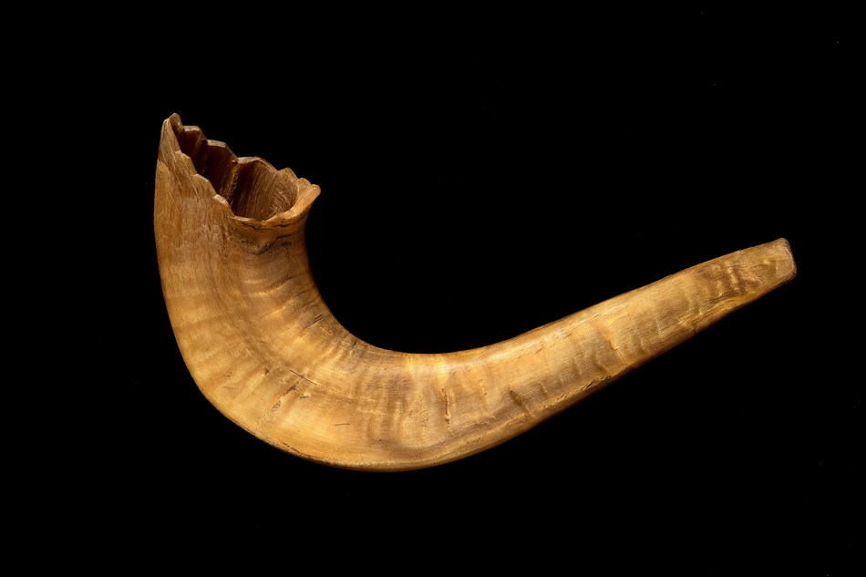 "The Museum of Jewish Heritage – A Living Memorial to the Holocaust has revealed a historic artifact—a shofar, a ram's horn that is made into a special wind instrument used during Jewish High Holiday religious services and that was hidden and clandestinely used in the Auschwitz concentration camp—as part of its acclaimed exhibition ""Auschwitz. Not long ago. Not far away.""  Photo credit: Museum of Jewish Heritage/John Halpern"