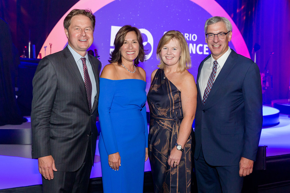 From left to right: 50th Birthday RBC Innovators' Ball co-chairs Sam Duboc and Claire Duboc of MindBeacon Group, and Karen McKay of Eli Lilly and Dave McKay of RBC at the Ontario Science Centre on September 26, 2019. (CNW Group/Ontario Science Centre)