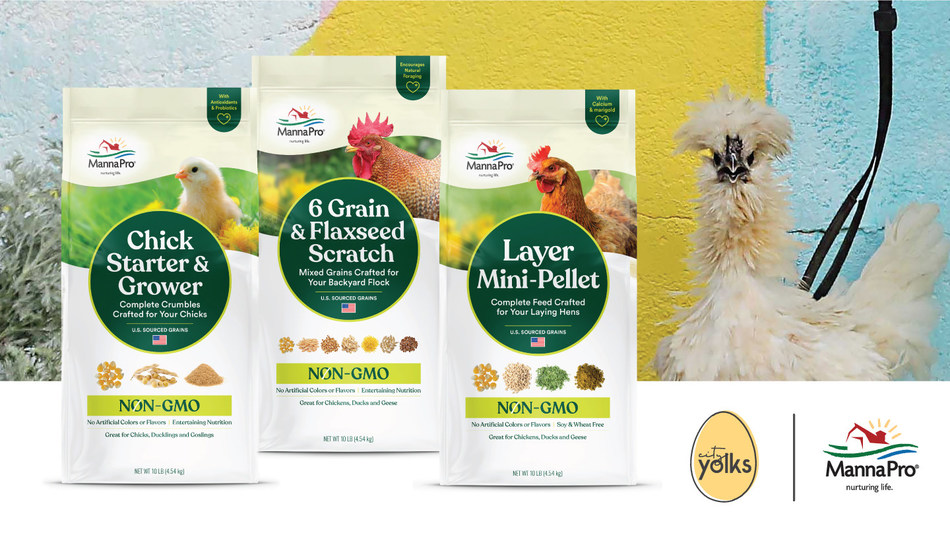 Manna Pro crafted a new line of non-GMO feed for chick parents conscious about raising happy and healthy hens to produce sustainable, backyard-fresh eggs. The products offer proper nutrition for all stages of a chicken's life – from hatch to lay: Manna Pro Chick Starter and Grower Non-GMO; Manna Pro Layer Mini-Pellet Non-GMO; Manna Pro 6 Grain and Flaxseed Scratch Non-GMO.