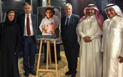Left to right: Ms. Charlotte Leslie; John Woodcock MP; Graham Jones MP; Amb. Mohammed Al Jabir; and Dr. Ghazi Binzagr at the Saudi Development and Reconstruction Program for Yemen (SDRPY) headquarters in Riyadh.
