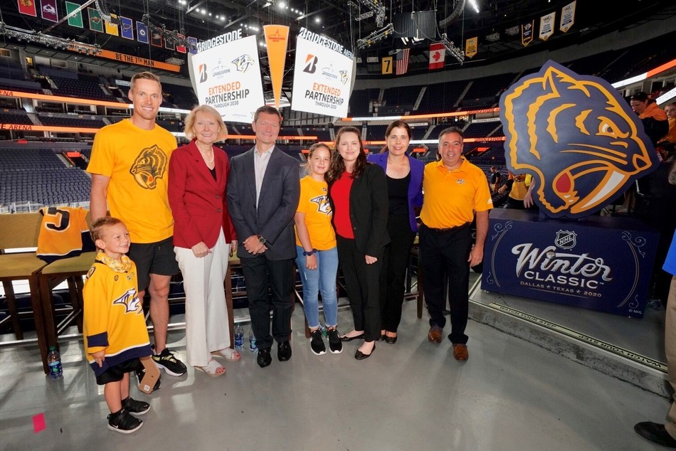 (From L-R): Nashville Predators Goaltender Pekke Rinne; Bridgestone Americas' Chief Administrative Officer and Executive Vice President Christine Karbowiak, President, Americas Tire Business TJ Higgins, Chief Financial Officer Amanda Mathis, and Vice President, Marketing, Consumer and Customer Engagement Amber Holm; and Nashville Predators President and CEO Sean Henry celebrate the new extension as part of the team's annual season-opening Preds Fest at Bridgestone Arena on Sunday, September 29, 2019. Photo courtesy of the Nashville Predators and Bridgestone Americas.