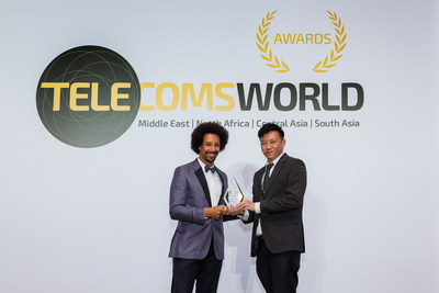 Representative from China Mobile International received the Best Enterprise Service Award at Telecoms World Middle East