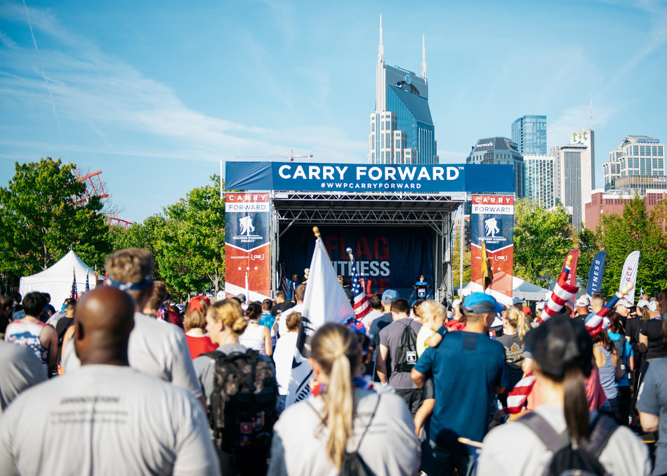 On the banks of the Cumberland River, the Nashville skyline provided the perfect backdrop for a snapshot of support for wounded veterans as more than 1,300 people participated in the Wounded Warrior Project® (WWP) Carry Forward® 5K, delivered by CSX®.