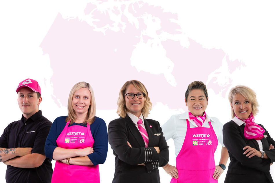 For the month of October, new pink aprons have been made available to WestJetters along with custom-designed pink neckwear, hats and personality pins that see 100 per cent of the purchase price going to the Canadian Cancer Society breast cancer cause. (CNW Group/WESTJET, an Alberta Partnership)