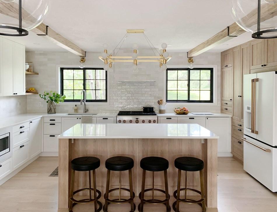 Chris Loves Julia kitchen featuring Semihandmade doors for Ikea cabinets and Rejuvenation cabinet hardware (PRNewsfoto/Semihandmade)