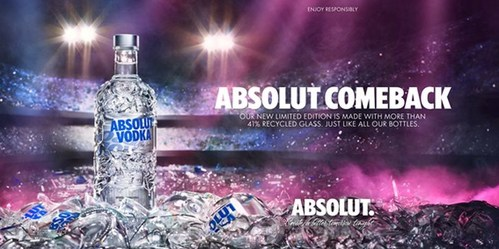 Absolut launches a new limited edition bottle made with more than 41% recycled glass celebrating recycling