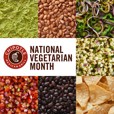Chipotle announced that it's offering 150 bonus points on vegetarian and plant-powered orders for veggie-loving Rewards members every Monday through October, National Vegetarian Month.