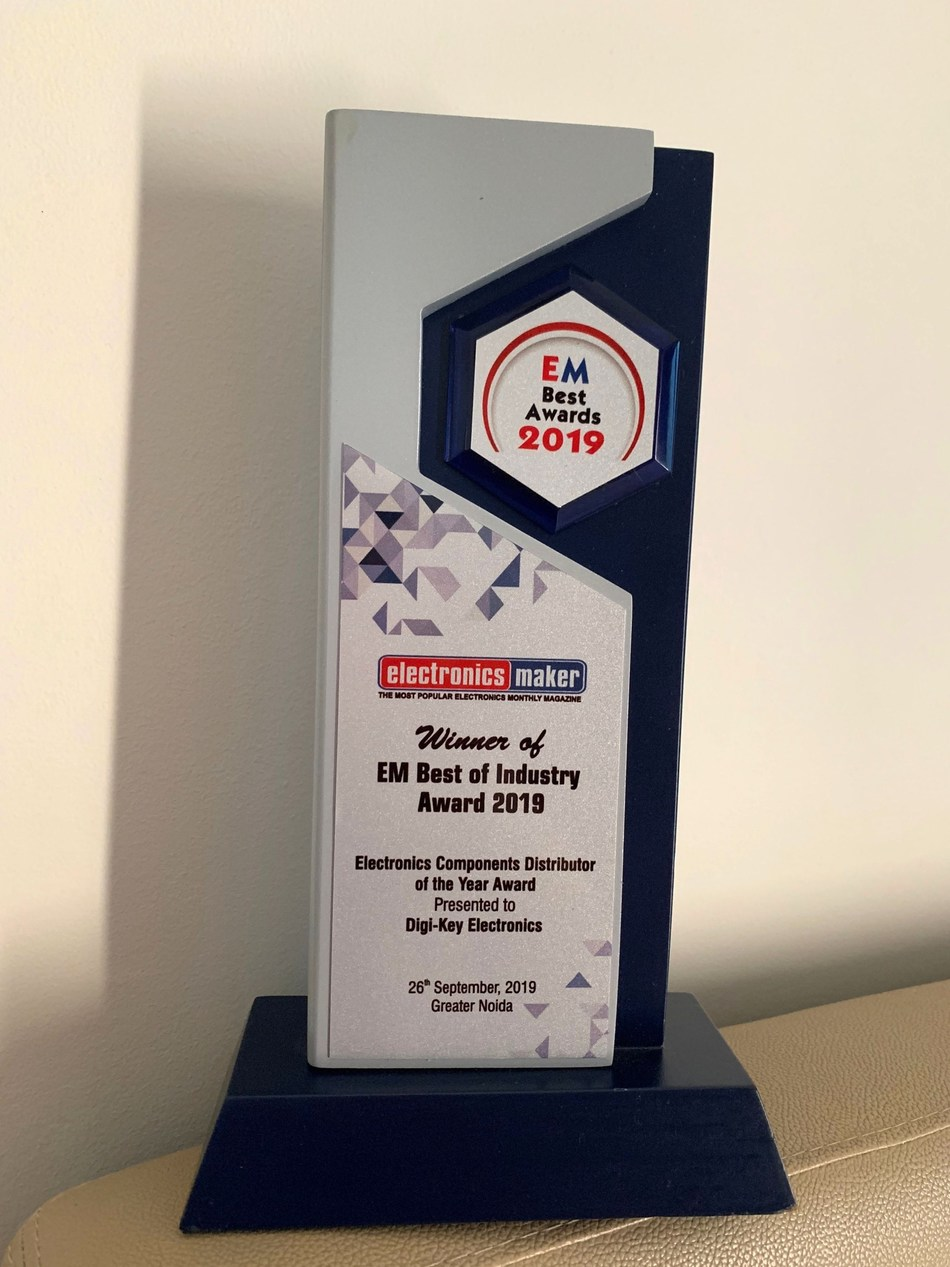Digi-Key Received the Electronics Components Distributor of the Year 2019 Award by Electronics Maker