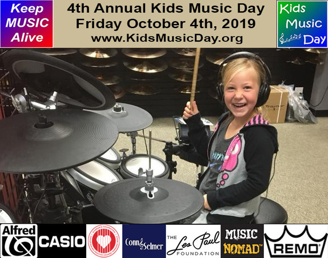 4th Annual Kids Music Day - Friday, October 4th - Supported by Alfred Music, Casio, D'Addario Foundation, Conn-Selmer, Les Paul Foundation, Music Nomad Equipment Care & Remo