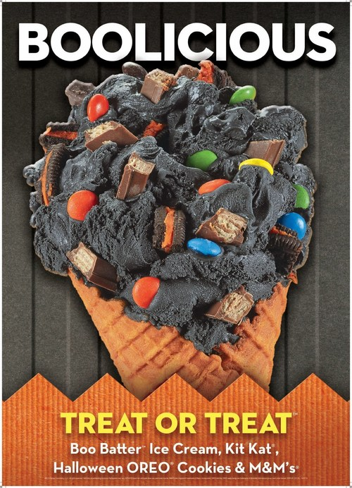Treat Or Treat Creation:  Boo Batter Ice Cream with Halloween OREO® Cookies, Kit Kat®, and M&M's®