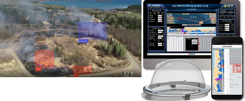 Alchera's AI video-based smoke and fire detection solution (left), GSIL's IoT smart safety management system (right)