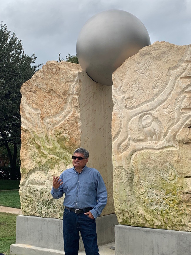 The artist, Eliseo, sharing his inspiration for Arcadia and how it serves as a portal to the park.