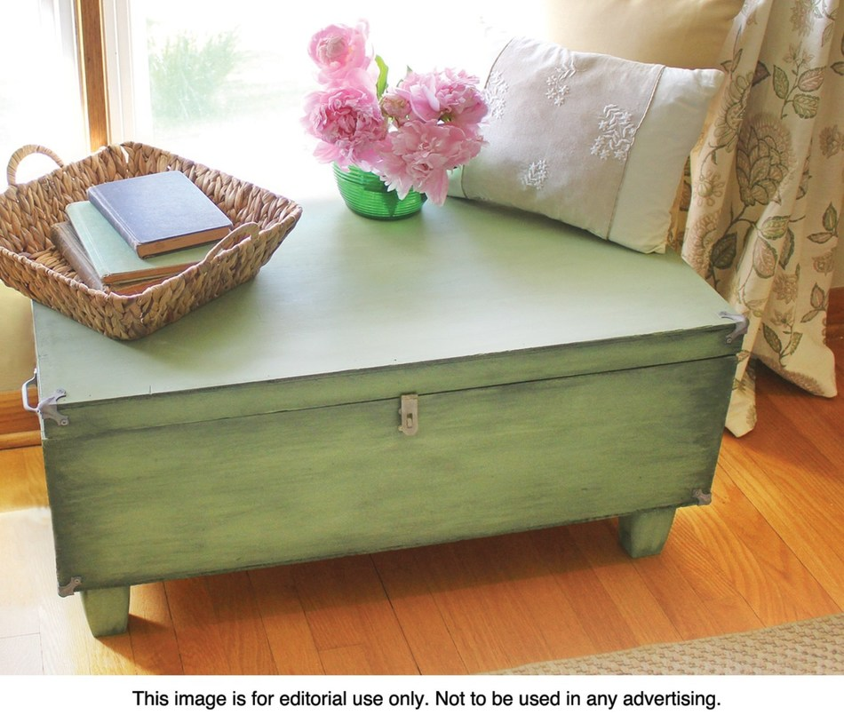This travel trunk from the 1970s is now a reimagined family heirloom storage trunk that fits well into any room.