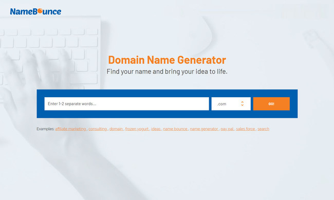 "This is the NameBounce homepage. Simply enter one or two separate words into the search box, click ""go,"" and the domain name generator will return hundreds of ideas in a few seconds."