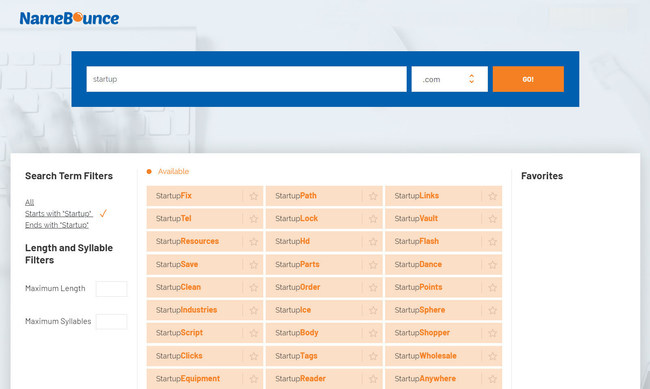 After you complete a search, NameBounce will forward you to the results page. In the search results, you'll be able to see hundreds of domain name ideas. You can use the filters on the left side to narrow down your options. When you find a promising name, click the star next to it to add it to your brainstorming list on the right side.