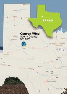 The 360 MW Canyon Wind project covers 38,000 acres in Scurry County, Texas.