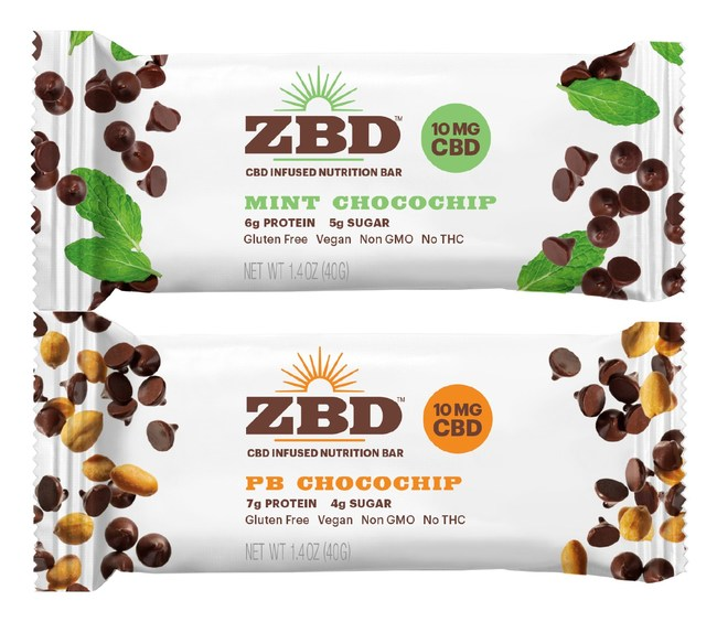 ZBD bars available in two flavors: Mint Chocochip and PB Chocochip