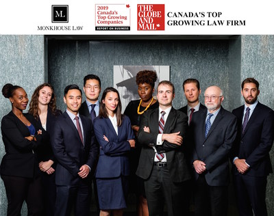 Monkhouse Law recently was ranked as the top growing law firm and only ranked top growing Employment Law firm by the Globe and Mail. (CNW Group/Monkhouse Law)