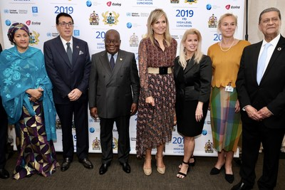 Her Excellency Mrs. Amina J. Mohammed, Deputy Secretary General of the UN; Dr. Srgjan Kerim, President of the 62nd General Assembly; His Excellency Mr. Nana Addo Dankwa Akufo-Addo, President of the Republic of Ghana; Her Majesty, Queen Maxima of The Netherlands; Rita Cosby; Mrs. Sigrid Kaag, Minister for Foreign Trade and Development Cooperation, Kingdom of the Netherlands and Mr. Amir Dossal, President of the Global Partnerships Forum.