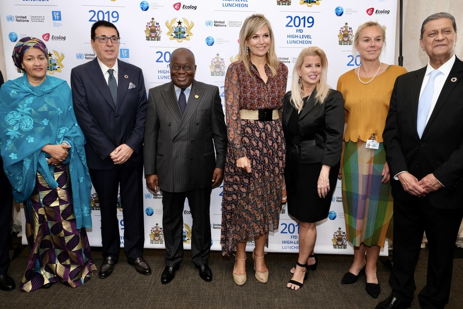 (Left to Right): Her Excellency Mrs. Amina J. Mohammed, Deputy Secretary General of the UN; Dr. Srgjan Kerim, President of the 62nd General Assembly; His Excellency Mr. Nana Addo Dankwa Akufo-Addo, President of the Republic of Ghana; Her Majesty, Queen Maxima of The Netherlands; Rita Cosby; Mrs. Sigrid Kaag, Minister for Foreign Trade and Development Cooperation, Kingdom of the Netherlands and Mr. Amir Dossal, President of the Global Partnerships Forum.