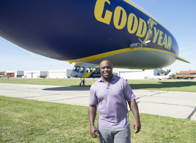 The Goodyear Blimp took College Football Hall of Fame inductee London Fletcher on an aerial trip down memory lane over his Cleveland hometown on Friday Sept. 27, 2019 in Cleveland. (Phil Long/AP Images for Goodyear)