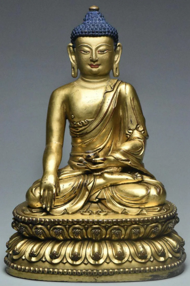 Chinese Ming Dynasty gilt-bronze Buddha, Yongle mark and period, 9½ x 6¾ x 5in. Provenance: Collection of David Collins (1902-1975), who served with the British Consular Service in China and Eastern Tibet in the 1920s/'30s. Estimate: $200-$400