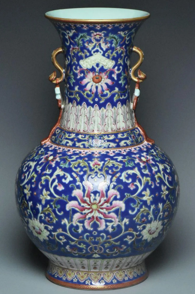 Chinese Qing Dynasty famille rose vase, Qianlong mark and period, 14¾ x 9¼ in. Provenance: Estate of William Nelson, who worked for the State Department in the 1970s and 1990s. Estimate: $200-$400